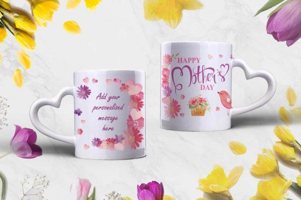 Flower background and two mugs